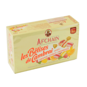coffret bêtise de cambrai aux fruits, orange, framboise, citron